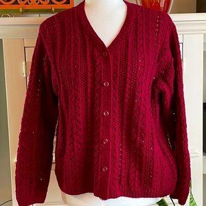 Eddie Bauer - Big Knit Burgundy Sweater Cardigan